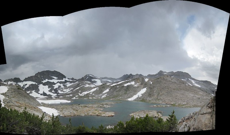 Stitched panorama shot of Lake 10856 with Peak 12415 on the left and Mount Lyell on the right