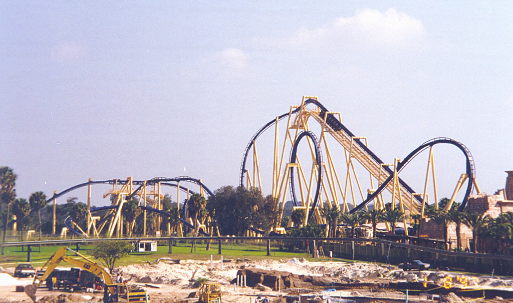 Busch gardens montu roller coaster a full view of - Roller coasters at busch gardens ...