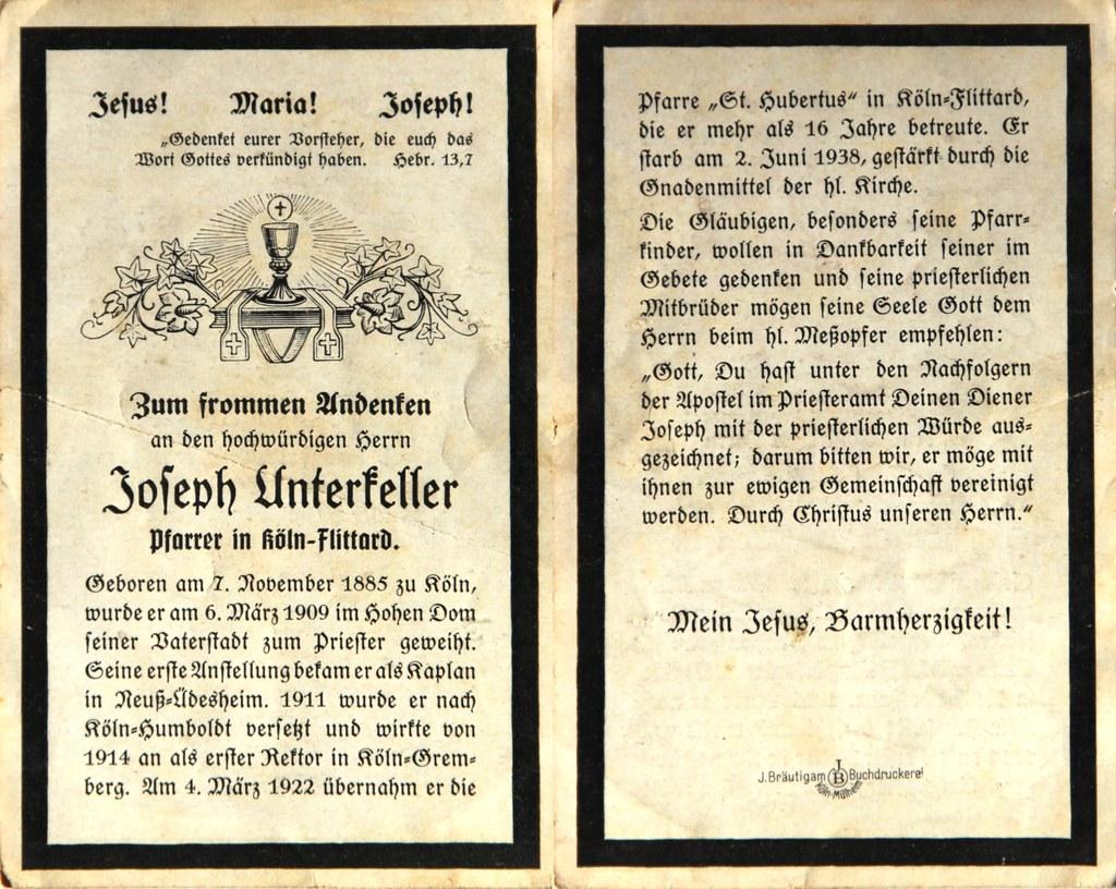Totenzettel Unterkeller, Joseph - Pfarrer in Flittard † 02.06.1938