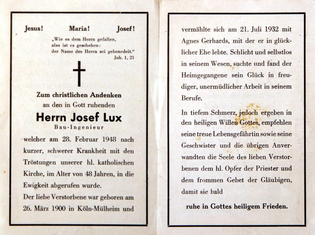 Totenzettel Lux, Josef † 28.02.1948