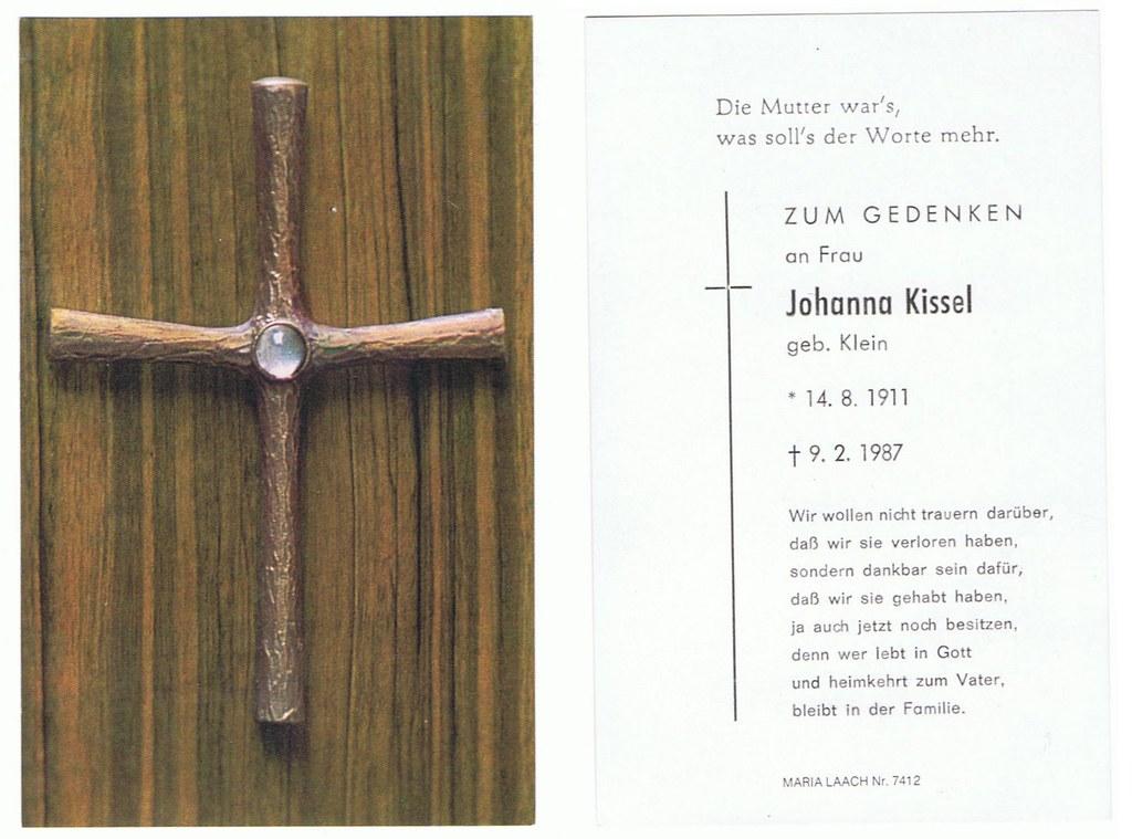 Totenzettel Kissel, Johanna geb. Klein † 09.02.1987