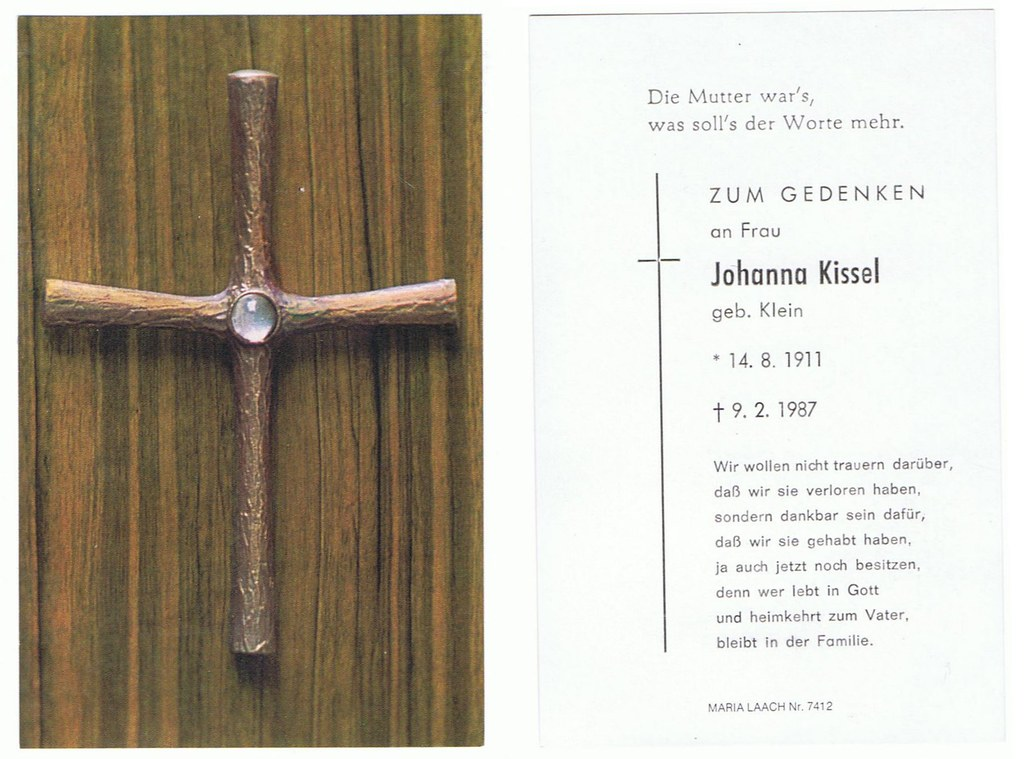 Totenzettel Kissel, Johanna † 09.02.1987
