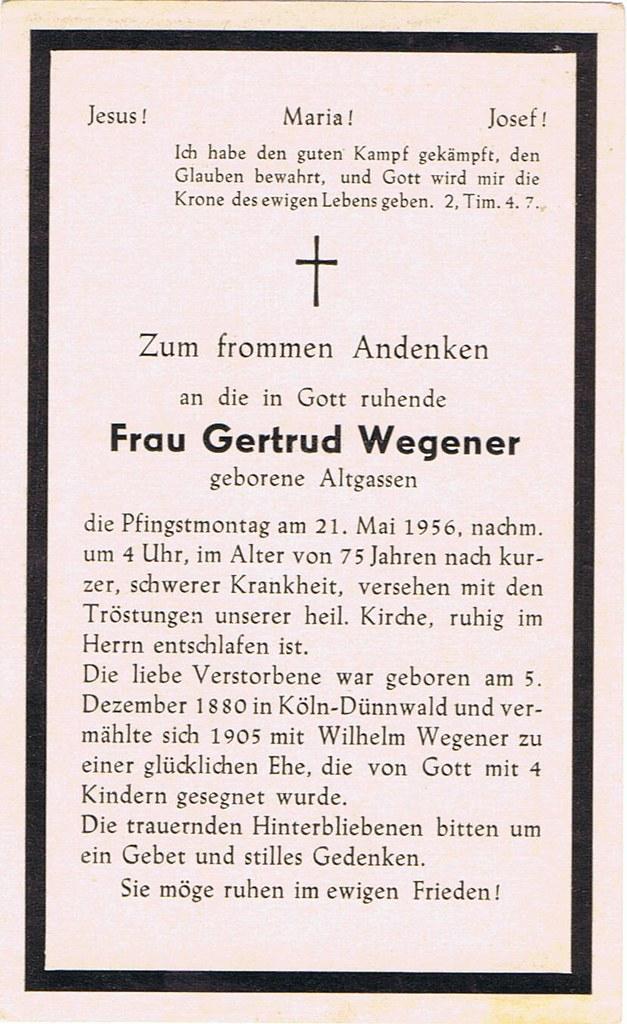 Totenzettel Wegener, Gertrud † 21.05.1956