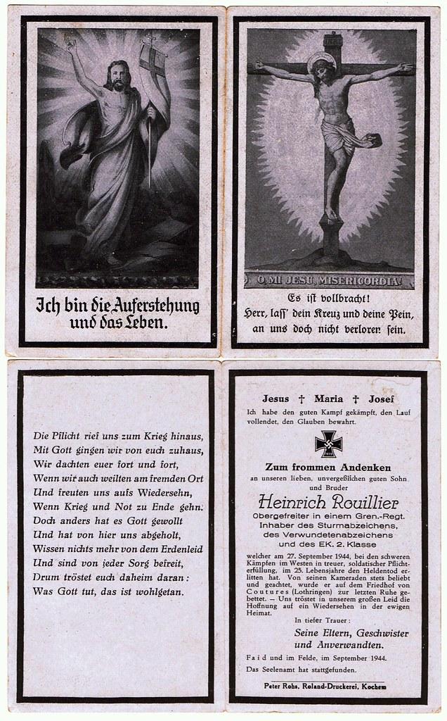 Totenzettel Rouillier, Heinrich † 27.09.1944