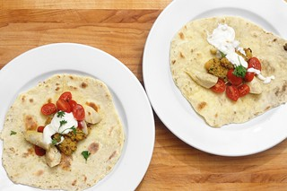 black cumin chickpea fitters with fresh flatbreads and garlic yogurt sauce | by aarn!