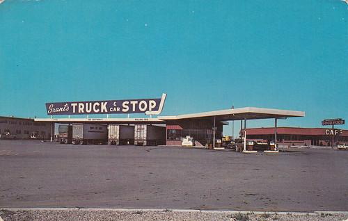 Grant S Truck Stop Boise Idaho Vintage Postcard Mark