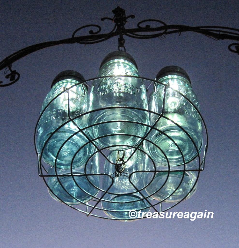 6 mason jar solar lights chandelier by treasureagain flickr for Solar light chandelier diy