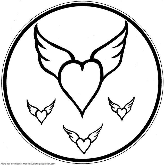Printable Children Coloring Page Flying Heart Mandala