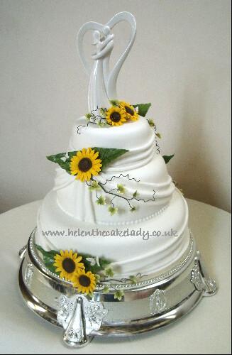 Sunflower 3 Tier Stacked Wedding Cake
