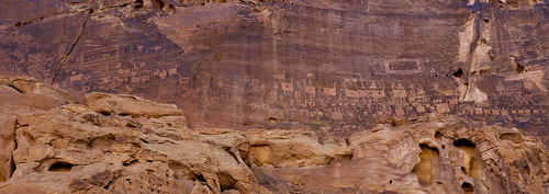 Rock carvings in madain saleh area saudi arabia
