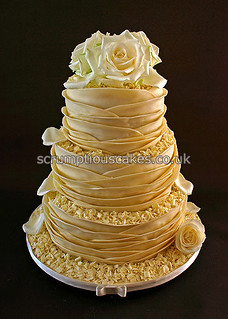 Wedding Cake - White Chocolate Wrap & Fresh Roses | by Scrumptious Cakes by Paula-Jane