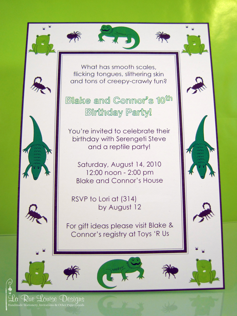 Reptile Birthday Party Invitations Jessica Knobeloch Flickr