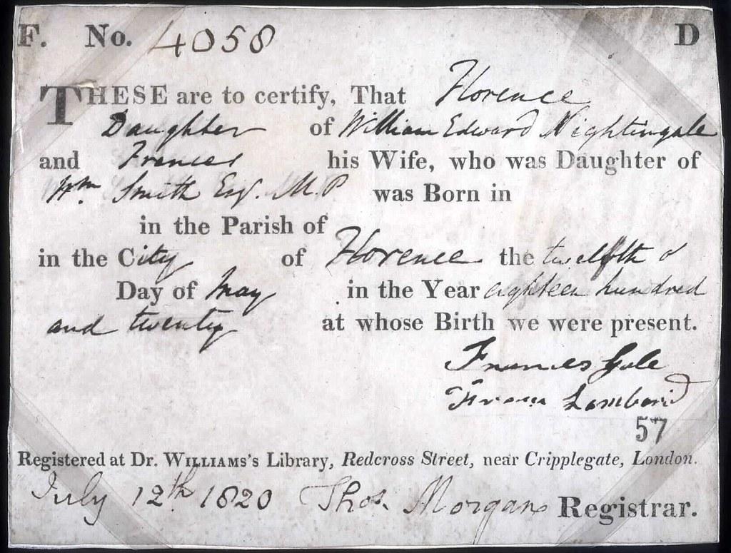 Rg5 83 Florence Nightingales Birth Certificate 1820 Flickr