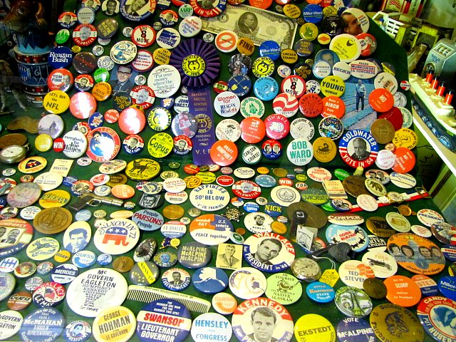 Political buttons | A collect on display at the Santa Claus