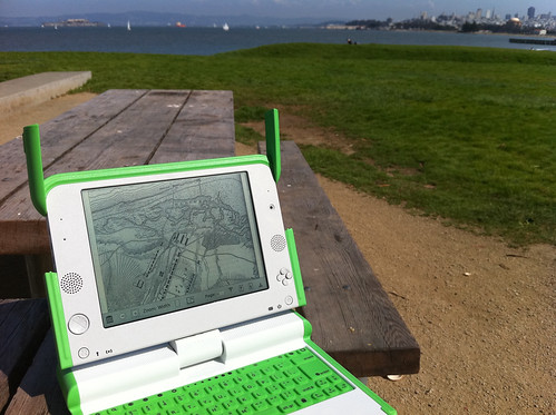 The Internet Archive's BookReader software full-screen on the OLPC in the sun! | by mangtronix