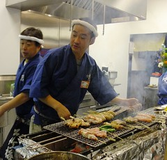 Yoshi-san at the grill @ Yokohama Yakitori Kobou