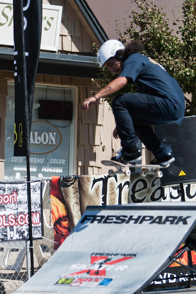 Skateboarder getting s...