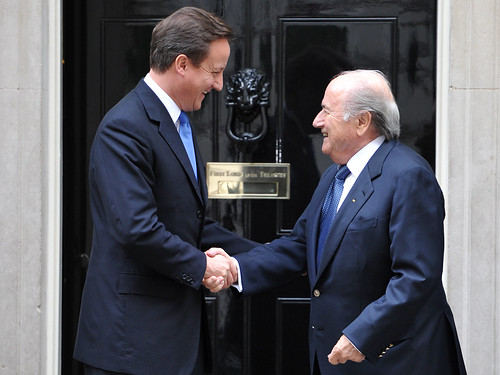 David Cameron and FIFA President Sepp Blatter