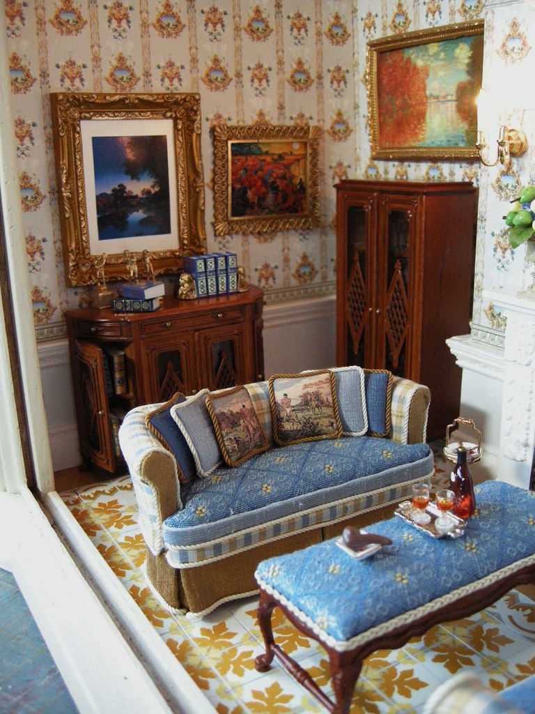 dollhouse living room furniture quot the room quot miniature room box by ken haseltine 13263