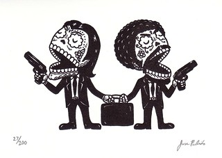 Pulp Fiction Calaveras Gocco Print | by misnopalesart