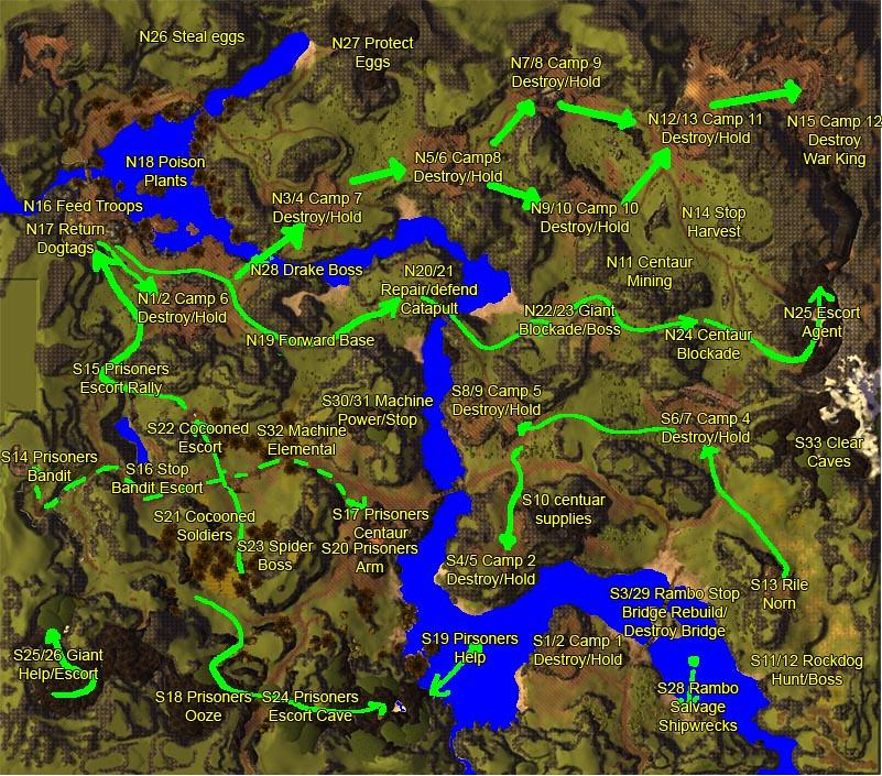 Guild Wars 2 Karte Karte Aus Dem Mmo Guild Wars 2 Mit