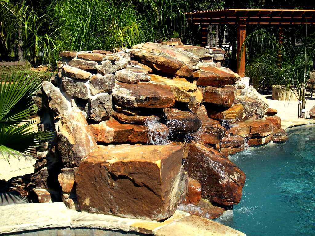 Landscape Boulders Dallas Tx : Swimming pool waterfall mckinny texas this custom design w