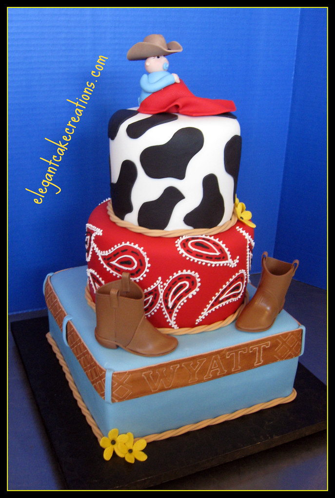Cowboy Baby Shower Cake Fondant Baby Gum Paste Boots