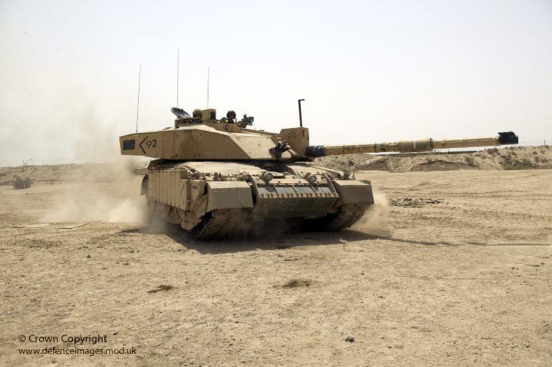 Challenger 2 Main Battle Tank patrolling outside Basra, Ir ...