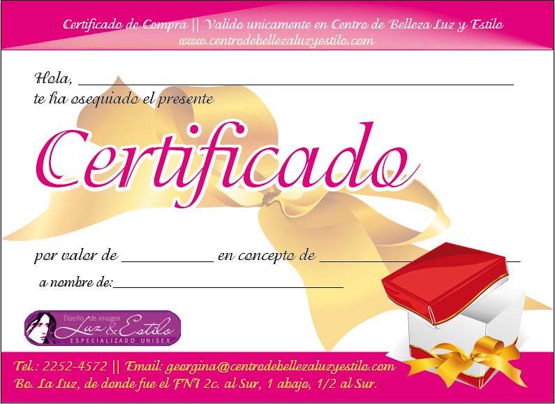 certificado de regalo salon de belleza