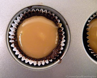 Caramel filling ready for its chocolate topping. | by CinnamonKitchn