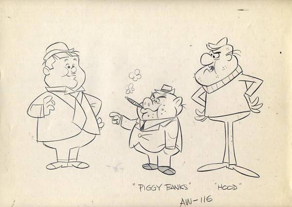 Vintage Laurel Amp Hardy Animation Drawing 1967 Hanna Hbs