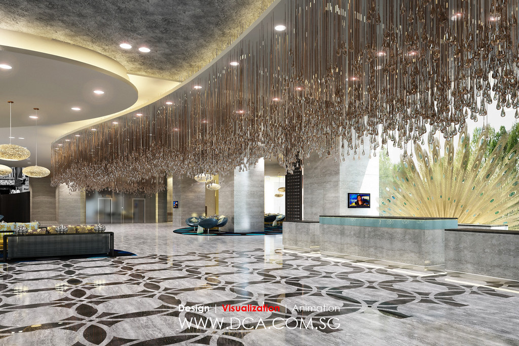 Hotel lobby reception 3d rendering 3d visualization for Best hotel design 2016