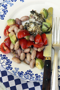 shelling bean salad and lotte (monkfish) | by David Lebovitz