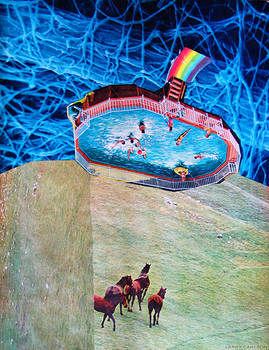 LARRY CARLSON, POOLSIDE, collage on paper, 12x9in. 2005. | by LARRY  CARLSON