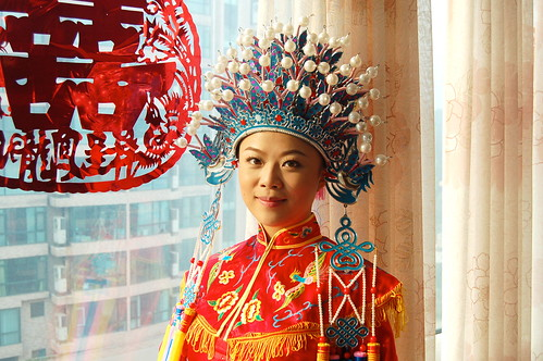 The Beautiful Bride in traditional Chinese wedding gown