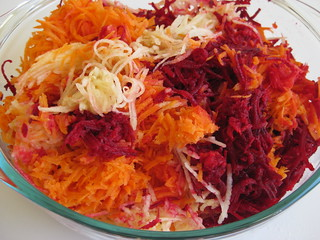 Grated beetroot, apple and carrot | by MakeBreadAU