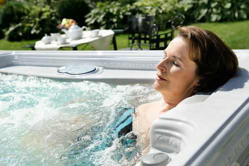 Hot Tub Mature Woman Relaxing Hydrotherapy Artesian Spas