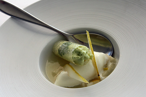 cilantro cream, yogurt ice cream, pear jelly | by David Lebovitz