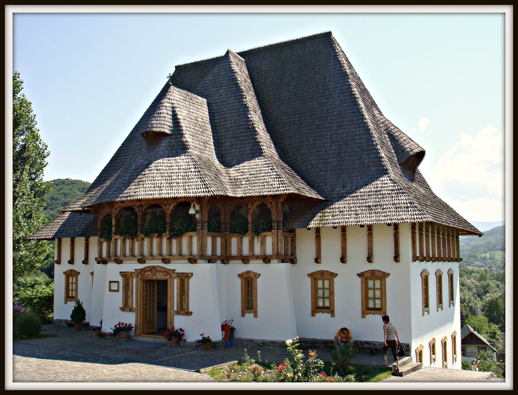 Romanian architecture museum building inside a monastery - Romanian architectural styles ...
