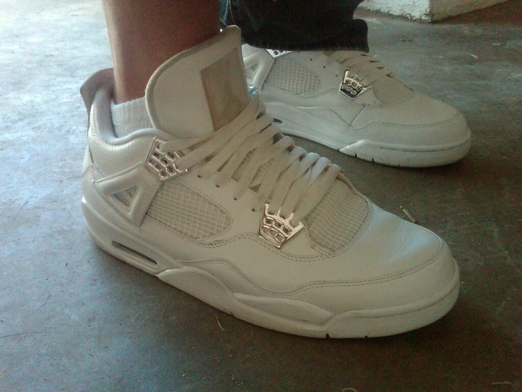 "Air Jordan 4 Retro ""Silver 25th Anniversary"" White/Metallic Silver ..."