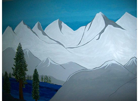 Mountain mural left side i painted this mural on my for Mural z papiezem franciszkiem