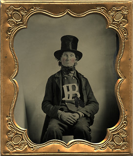 Tintype of Odd Man Wearing Top Hat and Displaying Initials | by AtypicalArt