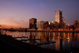 Sunset from the Smithfield bridge in Pittsburgh, PA. | by sandrajkammerer