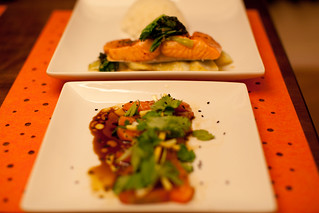 Salmon Sashimi with Hot Oil and Sesame; Sous Vide Salmon with Miso Bok Choy | by phy5ics