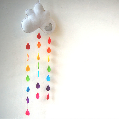 Rainbow Raindrops Cloud Mobile - A Funky Felt Wall Decoration from Clara Luna | by therainbowroom