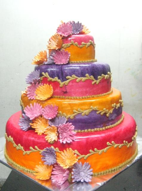 purple and orange wedding cake ideas 4 tier pink purple amp orange wedding cake with sugar chrys 18864