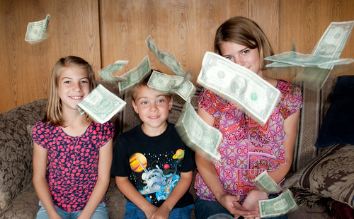 kids money dollar bills tossed | by GoodNCrazy