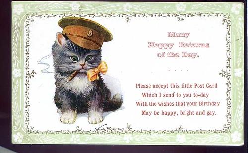 Cat Kitten Smoking Cigar Signed Vera Paterson