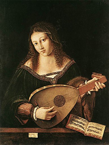 リュートを弾く女」1520年バロトロメオ・ウ...