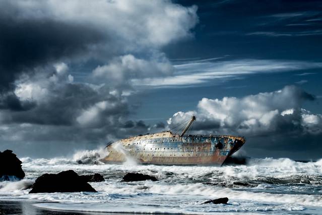 American Star naufragio en playa de Garcey Fuerteventura, Islas Canarias, España